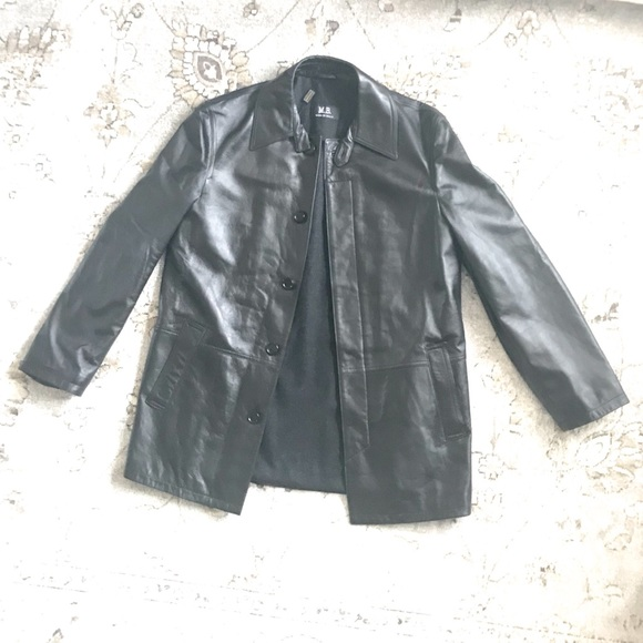 34b9412c2 Black Leather Jacket M.B. Made in Italy NWT